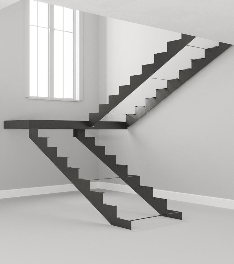 Металлокаркас для лестницы на тетивах