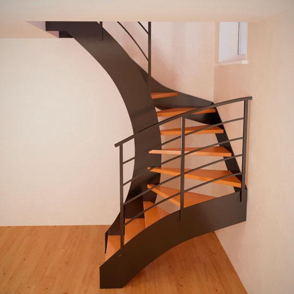 Винтовая лестница на тетиве из металла